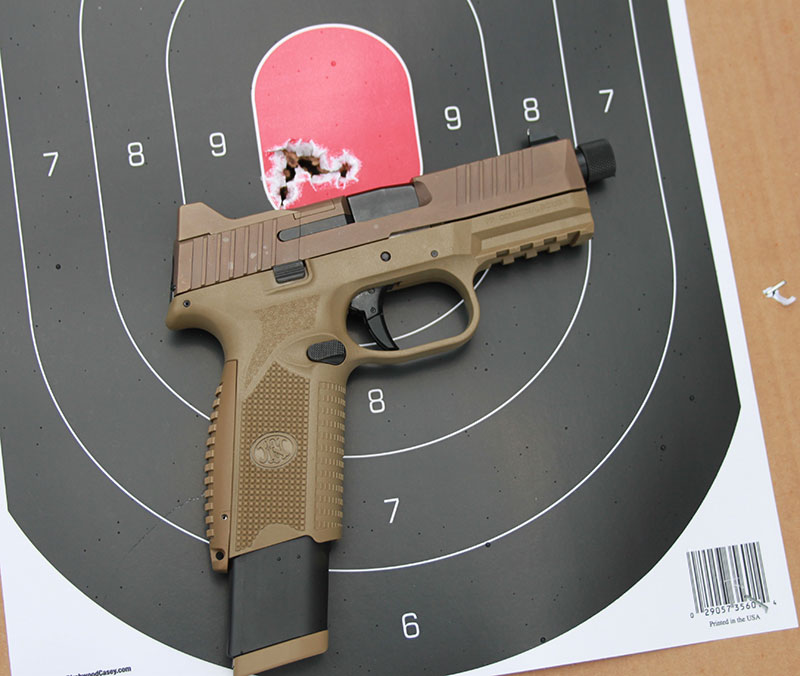 Group fired offhand at 15 yards with FN 509 Tactical during initial range orientation.