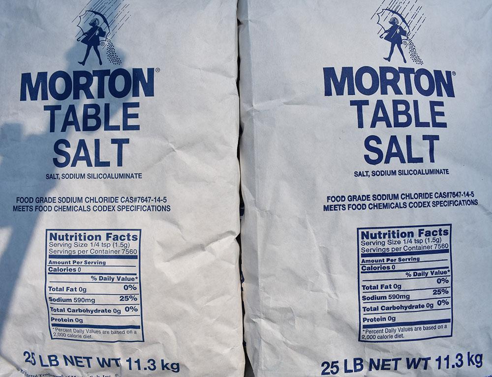 Fifty pounds of salt—$15.76 today, priceless tomorrow.
