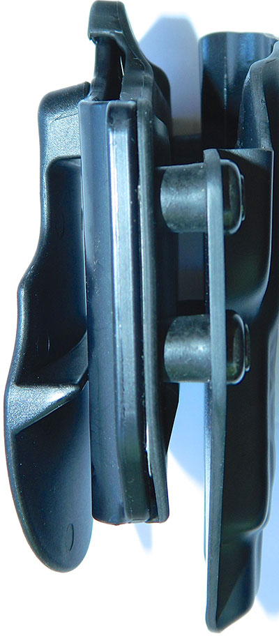 Holster has four points for adjustment—two on the front edge and two at the trailing edge.