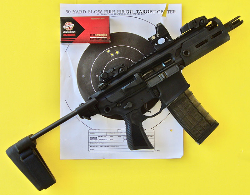 SIG Sauer Rattler offers a lot of weapon in a compact package with its collapsible arm brace and .300 Blackout chambering. With the Trijicon RMR optical sight, it is very accurate at CQC ranges to 50 yards and usable against man-sized targets at 100 yards or greater.
