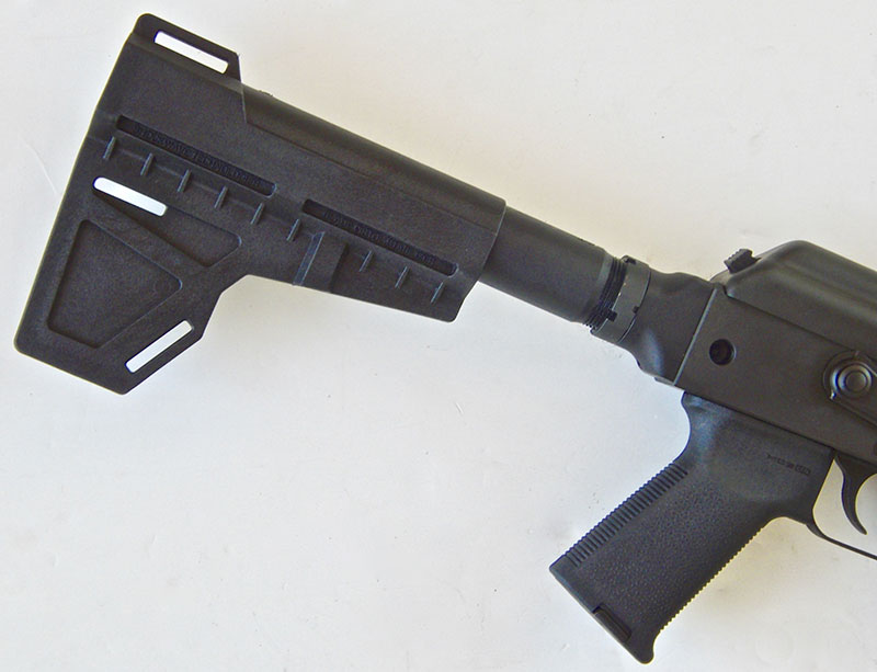 C39v2 Blade's arm brace does concentrate recoil against the shoulder.