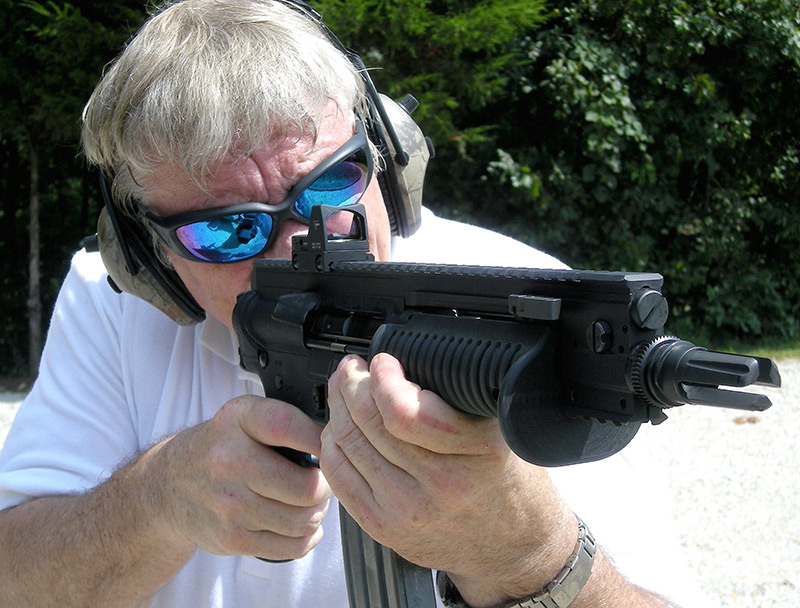 Using support hand to push/pull back against hand grasping pistol grip can offer some stability for shooting rifle-caliber pistol.