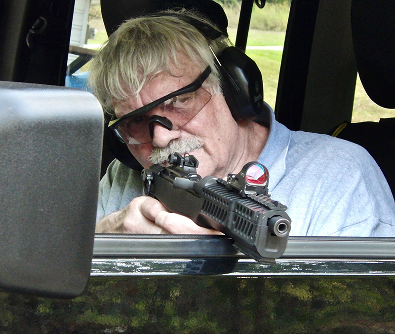 .30 Carbine caliber pistols from Inland have advantage of less recoil, allowing better control, but are also longer and make it harder to balance them when shooting. They work best from a rest, such as a vehicle window ledge.
