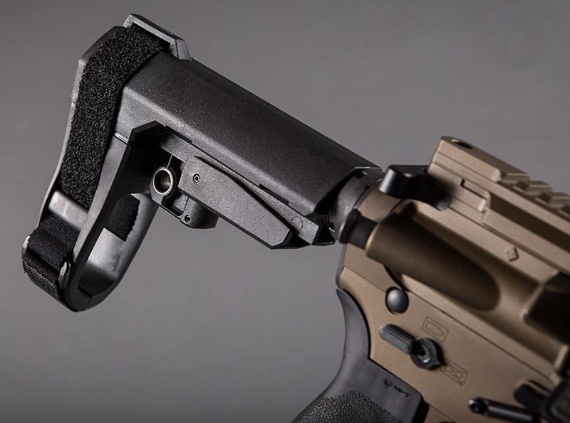 Five-position adjustable SBA3 Pistol Stabilizing Brace combines minimalist design with integral ambidextrous QD sling socket. It uses a milspec carbine receiver extension (buffer tube).