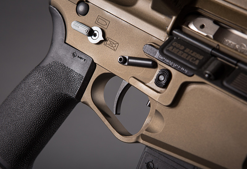 P415 Edge Pistol has proprietary POF-USA match-grade single-stage, non-adjustable drop-in trigger system that boasts a solid 4.5-pound pull weight. It includes custom-fit stainless steel KNS Precision anti-walk pins.