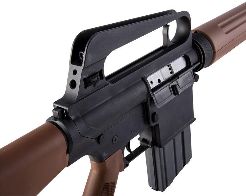 Rifle is slick sided with no shell deflector, forward assist, and no fence around magazine release.