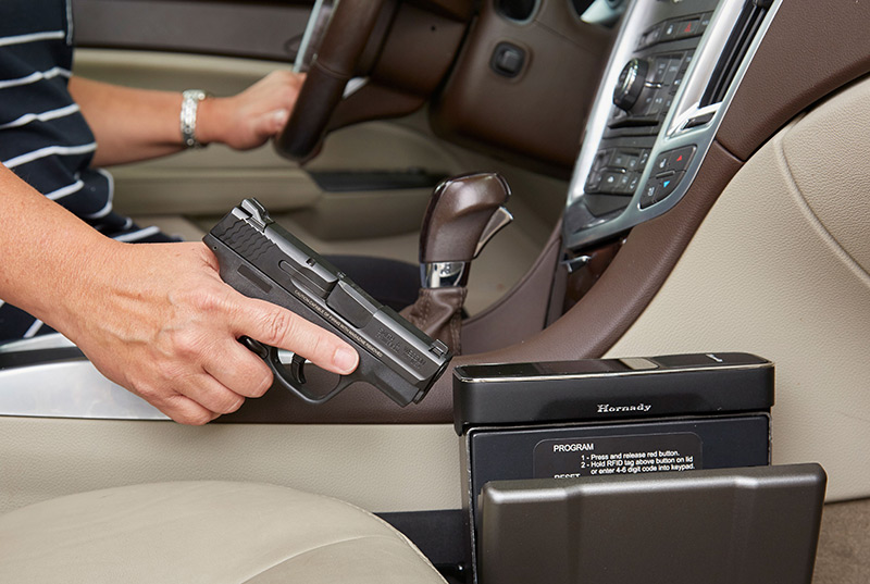 RAPiD Vehicle Safe provides immediate access to your handgun. It is unlocked through RFID system, which can be triggered through use of several included RFID-enabled tags. Photo: Hornady
