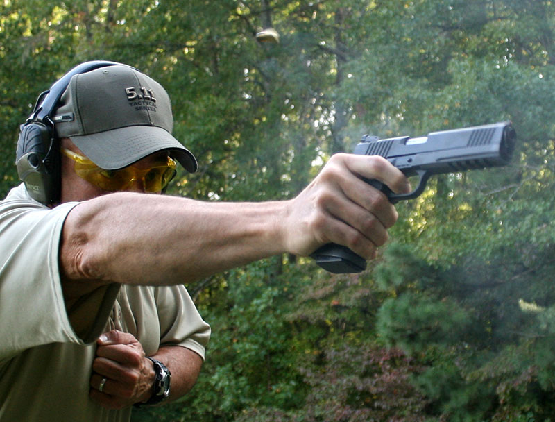 One-handed shooting was just as pleasant as two-handed grip. Biggest distraction was pistol's weight.