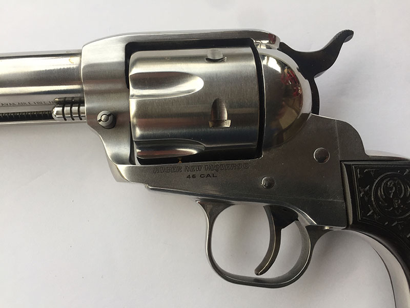 Tyler Gun Works color-cased hammer and trigger to contrast with stainless steel finish.