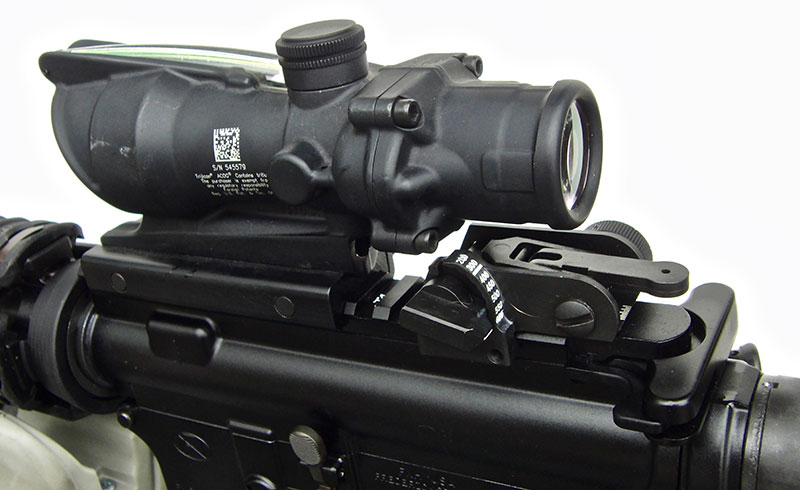 Trijicon TA31RCO-M150CP-G and Matech back-up rear sight.