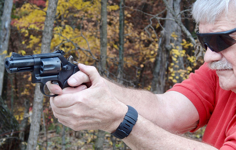 Firing S&W Model 19 Carry Comp single action at 25 yards.
