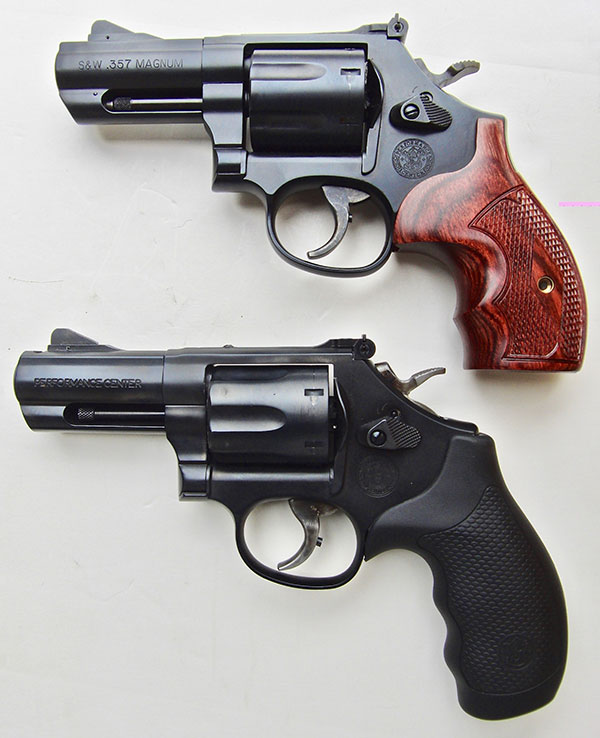 Top: heavier and bulkier S&W Model 586 Carry Comp, which holds seven rounds.