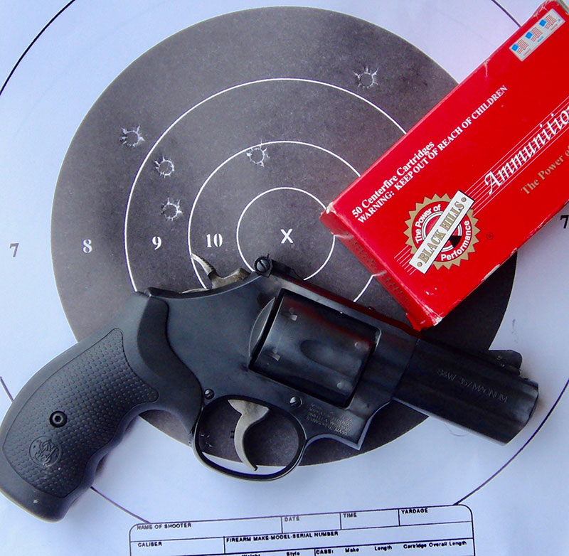 Four-inch, five-shot group at 25 yards using Black Hills 158-grain SWC. Four shots went into two inches, with one pulled a little high and right.