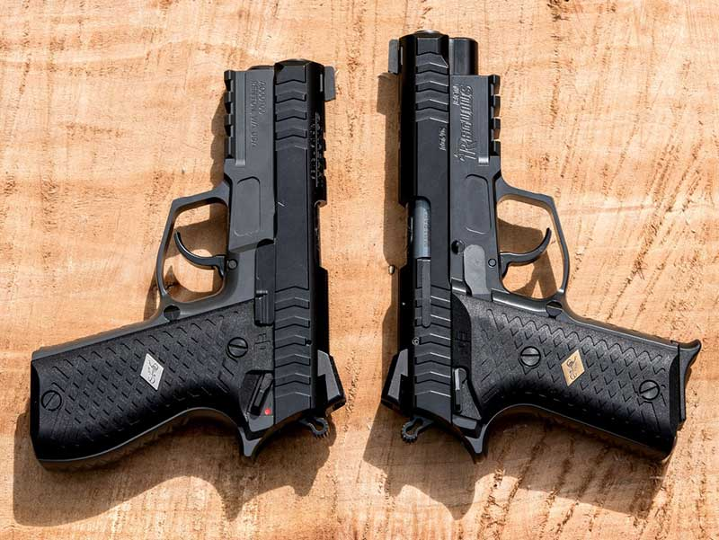 Regulus Alpha Compact (left) and Beta with standard long slide group. Both are finished in black Cerakote.