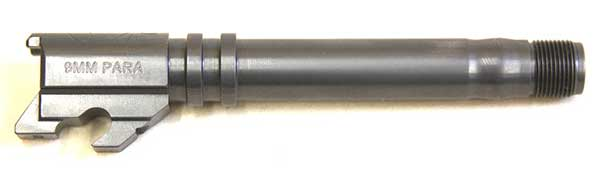 Regulus barrel is designed to use with either standard or compact slide. It has three locking lugs instead of the usual single lug at the front of the chamber, and its chamber is fully supported.