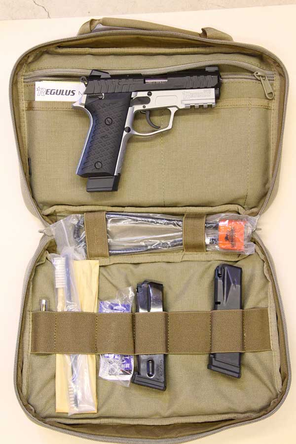 Regulus comes in deluxe padded case with three magazines and accessories.