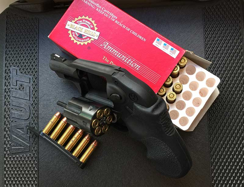 Author was comfortable carrying Ruger LCR in .327 Magnum stoked with milder .32 H&R Black Hills 85-grain JHP ammo and TUFF strip holding extra six rounds.