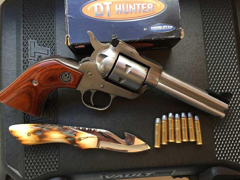 Ruger Single Seven in .327 Magnum has become author's favorite trail handgun. With DoubleTap's 120-grain hard-cast bullets at almost 1,400 fps, bullets penetrate deeply.