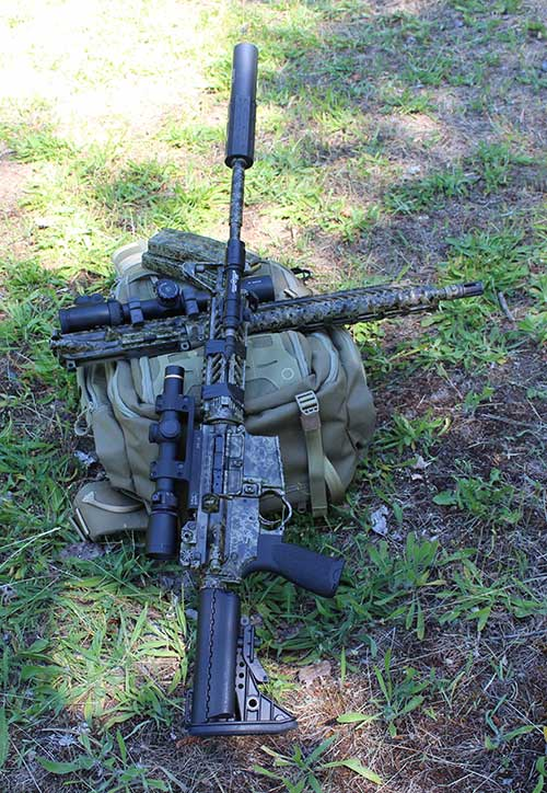 Gun and upper rest on Maxpedition ruck. Note effectiveness of pattern.