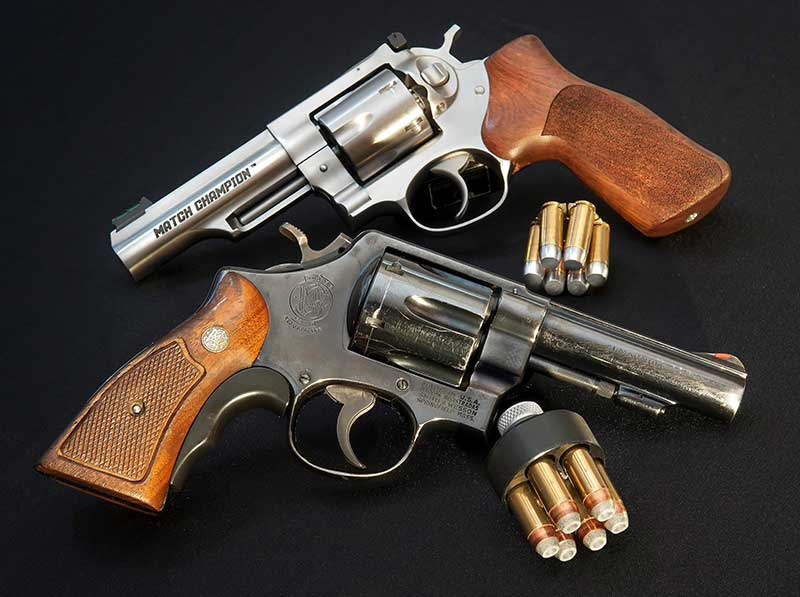 .41 Magnum has lots of power, but case size demands a big gun like this N-Frame S&W Model 58. Match Champ 10mm delivers enough power in a lighter, more portable gun.