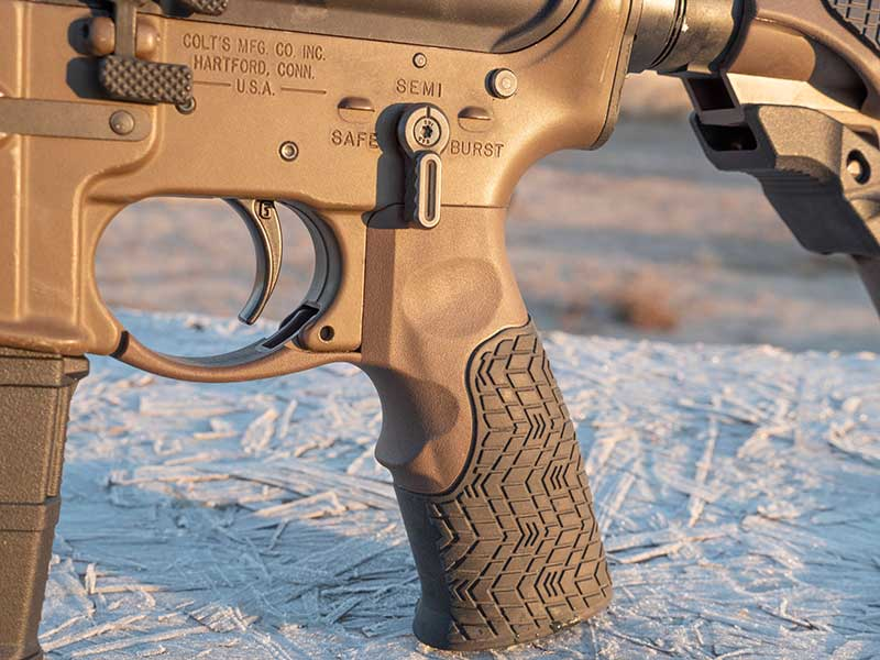 Daniel Defense rubber-coated pistol grip and stock are very comfortable without adding weight or sacrificing strength.