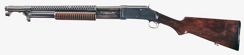 Thompson became fascinated by trench shotguns with the Winchester Model 97 Trench Gun, and that has carried over to liking the Mossberg 590A1 Retro. Photo courtesy Rock Island Auction Service