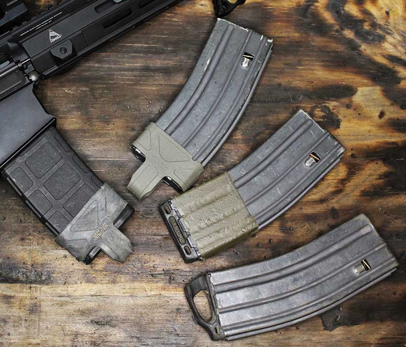 Magpul, the original magazine accessory maker, offers numerous items for upgrading magazines. Top to bottom: original Magpul, L-Plate, and Ranger Plate.