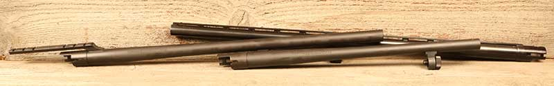 Barrels come in variety of gauges, contours, lengths, and formats.