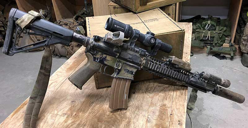 Perfect set-up for targets at any range: carbine with LPVO and red dot in 45-degree offset mount. Offset red dots are very fast and easy to acquire.