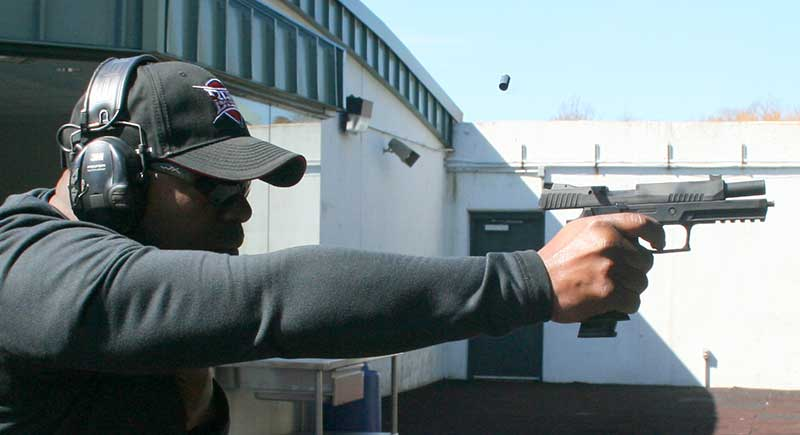 Recoil from competition load, even when fired with one hand, was mild.