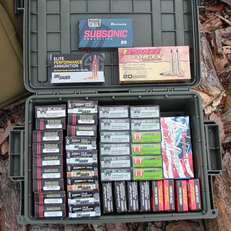 Variety of .300 BLK ammunition available leaves no doubt it is here to stay: standard and subsonic loads, bullet types for hunting, barrier penetration, match accuracy, and more.