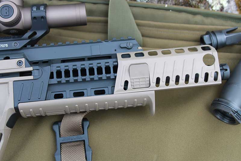 Removable rail covers give access to Picatinny rails on both sides and bottom of X95's forend.