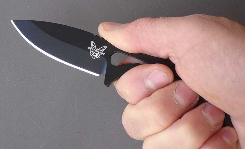 Follow-Up has 2.6-inch drop-point blade and ergonomic skeletonized handle. Knife feels good in the hand.
