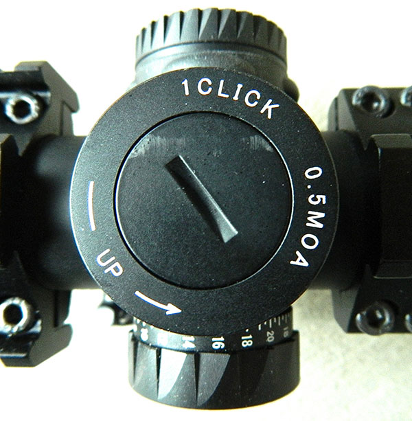 Windage and elevation adjustments on EOTech Vudu scope are in .5 MOA increments, with total adjustment range of +/- 50 MOA windage and elevation adjustment.