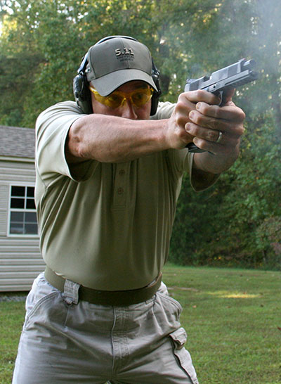 Felt recoil, even with +P ammo with two-handed grip, was extremely mild and an almost zero distraction. TUFSHC has aggressive fore and aft slide serrations.