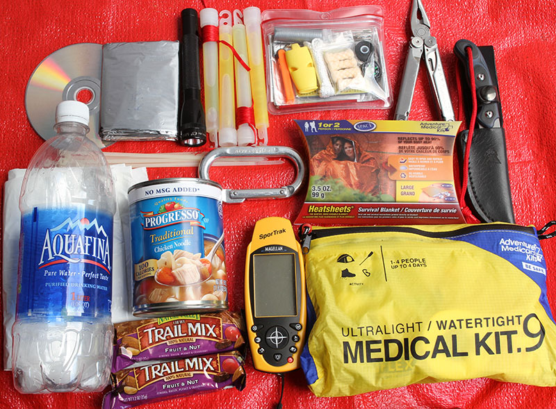 Compact kit that fits in a duffle bag or backpack should be carried by all who venture into wilderness areas or on long trips. Most everyday household items can be used and turned into useful gear in a survival situation, including trash bags, CD (to use as a signaling mirror), zip ties, and flashlights.