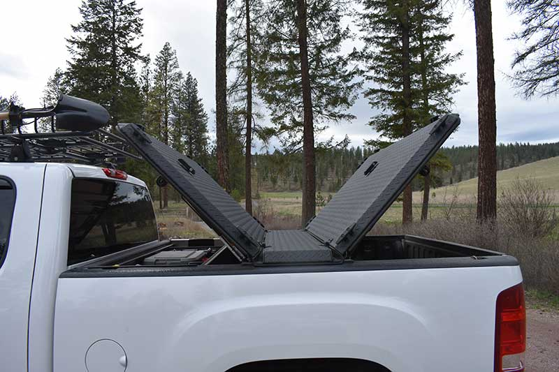 DiamondBack bed cover opens from both ends and the rear.