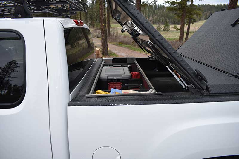 DiamondBack's front hatch accesses Crossbin, which holds all gear pictured below.