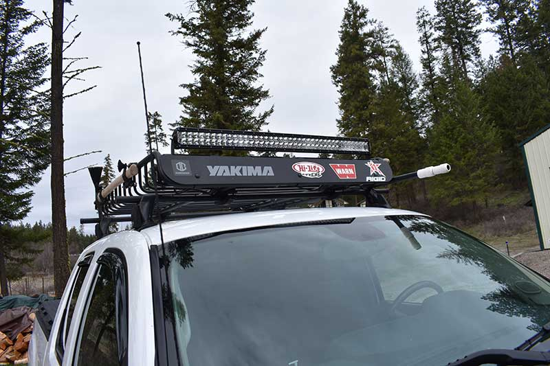 Yakima Rack holds lights, gear, and pioneer tools.